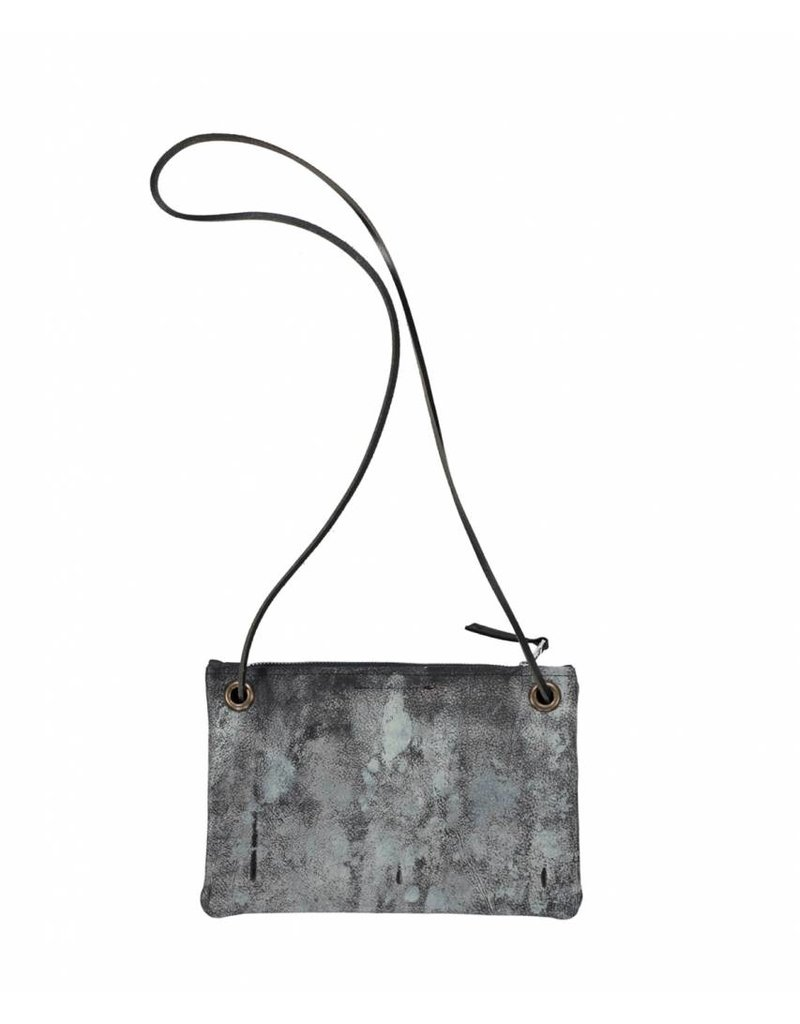 Tesj Handtasje zwart grijs donkere wolk print