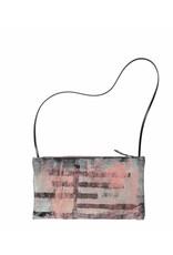 Tesj Medium handtas gestreept zalm/zwart/grijs