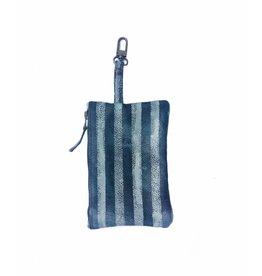 Tesj Clutch / bag-in-bag / wallet streep groen/zwart/grijs