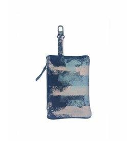 Tesj Clutch / bag-in-bag / wallet streep zalm/zwart/grijs