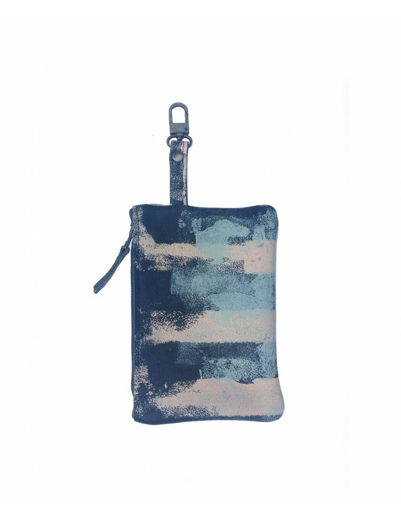 Tesj Clutch / bag-in-bag / wallet streep zalm/zwart/grijs - Copy