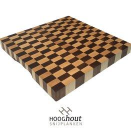 Hooghout Snijplanken Esdoorn en Noten 40 x 40 x 4 cm