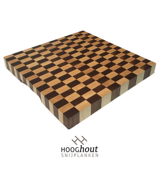 Hooghout Snijplanken Esdoorn en noten snijplank  40 x 40 x 4 cm