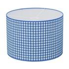Taftan Lampenkap 35 cm Cilinder Grote Ruit 7 mm Licht Blauw