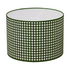 Taftan Lampenkap 35 cm Cilinder Grote Ruit 7 mm Donker Groen