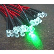 Pre Wired led 3mm Groen Helder Knipper (flash)