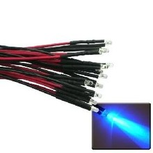 Pre Wired led 3mm Blauw Helder Knipper (flash)