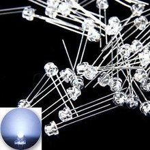 5mm Straw Hat Led Cold White Clear