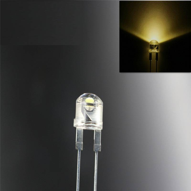 8mm Straw Hat Led Warm White Clear