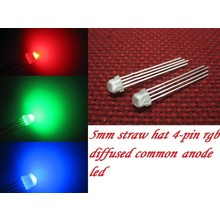 5mm Straw Hat Led RGB Common Anode Diffuus