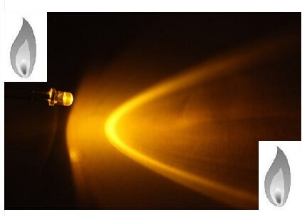 3mm Round Yellow Candle Light Leds