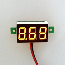 0.28inch 3.5-30V Two Wire DC Voltmeter Yellow
