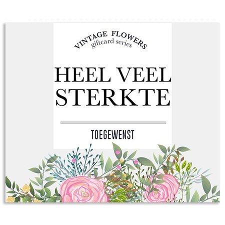 Vintage Flower Cards Kadokaartjes Vintage Flowers -  Heel veel sterkte toegewenst