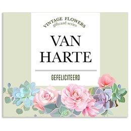 Vintage Flower Cards Van harte gefeliciteerd