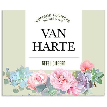 Vintage Flower Cards Kadokaartjes Vintage Flowers -  Van harte