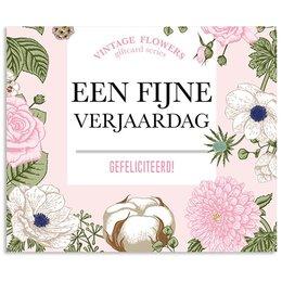 Vintage Flower Cards Een fijne verjaardag gefeliciteerd!