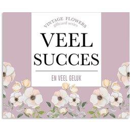 Vintage Flower Cards Veel succes en veel geluk