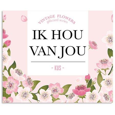 Vintage Flower Cards Kadokaartjes Vintage Flowers - Ik hou van jou