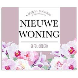 Vintage Flower Cards Nieuwe woning gefeliciteerd