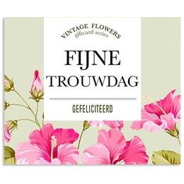Vintage Flower Cards Fijne trouwdag gefeliciteerd