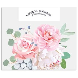 Vintage Flower Cards Blanco