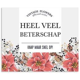 Vintage Flower Cards Heel veel beterschap knap maar…