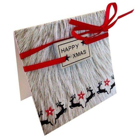 Gelegenheden Quatro kerstkaartje met blokje - Happy Xmas