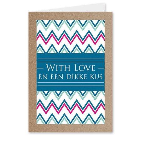 Kadokaartjes Quote - With love en een dikke kus