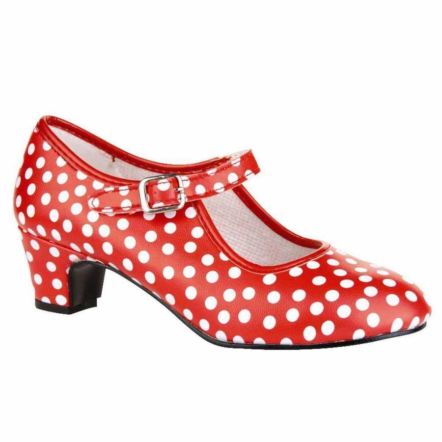 Spaanse schoenen rood-wit stipje