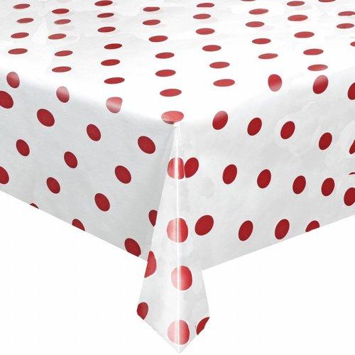 Tafelzeil Eco Wit met rode stippen rond 140cm