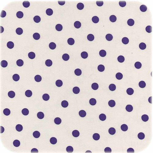 Tafelzeil op rol Wit met paarse stippen