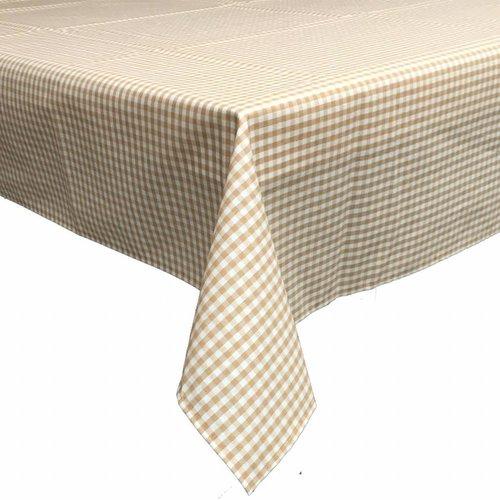 Gecoat tafelkleed 2,5m Ruitje beige 140cm