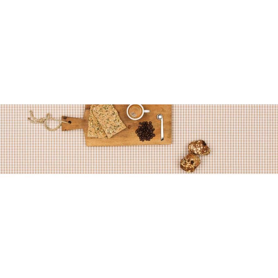 Gecoat tafelkleed Ruitje beige 2,5mx 140cm