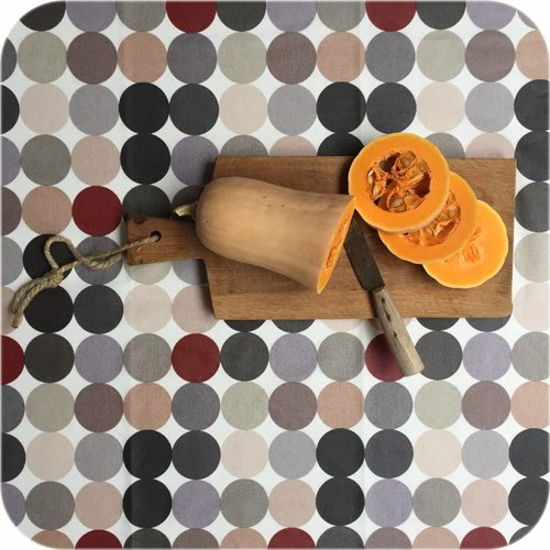 Gecoat tafelkleed 2,5m grote stippen beigegrijs 1,4m