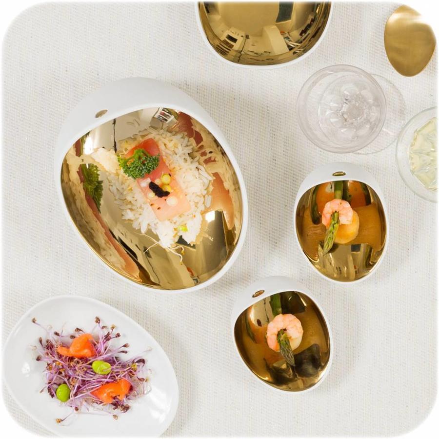Cookplay Jomon Large Bowl porselein wit-goud geschenkdoos