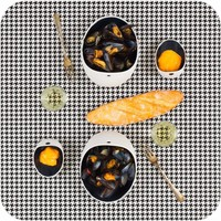 Cookplay Jomon Large Bowl porselein wit-zwart 4-delig