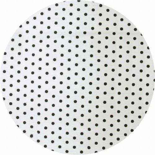 Gecoat rond tafelkleed wit met zwarte stippen 150 cm