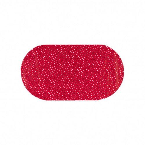 Tafelzeil Eco Ovaal rood met witte stipjes 200 cm