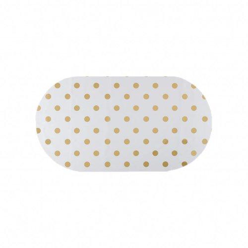 Tafelzeil Eco Ovaal Wit met gouden stippen 200 cm