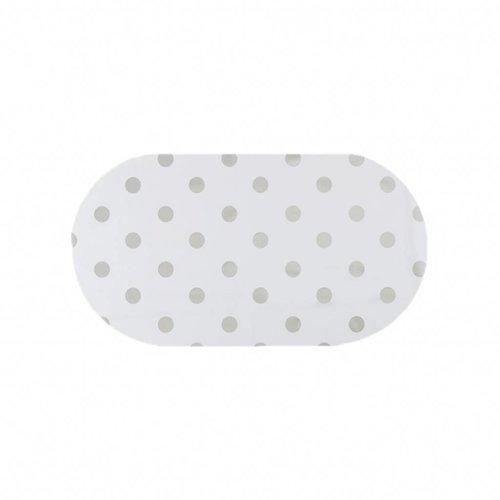 Tafelzeil Eco Ovaal Wit met zilveren stippen 200 cm
