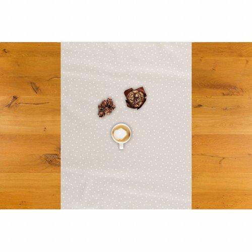 Tafelzeil Biertafel Eco Beige met witte stipjes op rol 5m bij 70cm