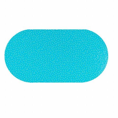 Tafelzeil Eco Ovaal blauw met witte stipjes 250 cm