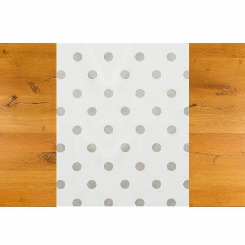 Tafelzeil Biertafel Eco Wit met zilveren stippen op rol 5m bij 70cm