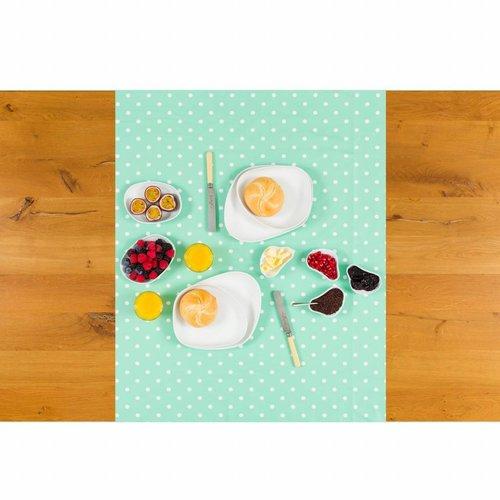 Tafelzeil Biertafel Eco mintgroen met witte stippen op rol 5m bij 70cm
