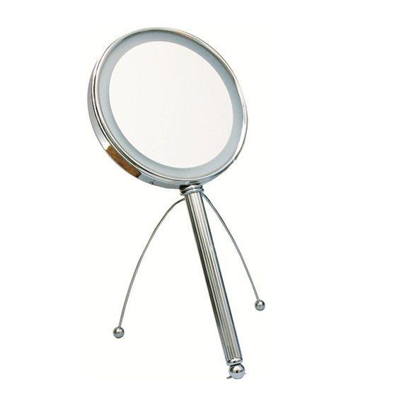 LED Make-up spiegel hand/stand Ø15cm/5x Vergroting
