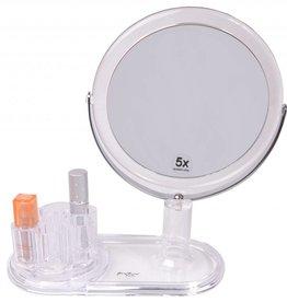 Lipstickhouder acryl met Make-up spiegel Ø15cm/5x vergroting