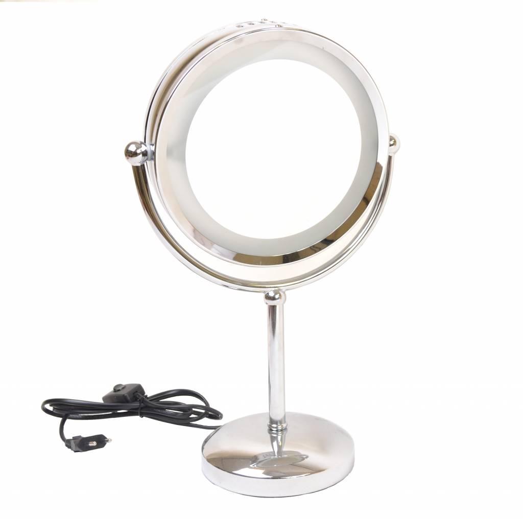make up spiegel chrome 2 zijdig verlicht 20cm 5x. Black Bedroom Furniture Sets. Home Design Ideas
