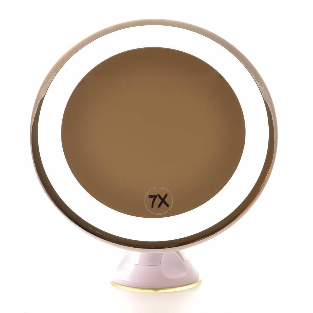 Zuignap Spiegel LED 7x vergroting/Ø17cm| Badkamer Spiegel