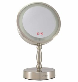 2-Zijdig verlichte Make-up spiegel met digitale Klok Ø20cm 7x vergroting