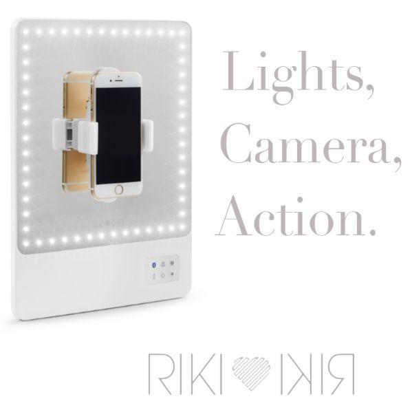 RIKI SKINNY RIKI SKINNY Make-up Spiegel 54x LED/Accu & bluetooth voor Smartphone gebruik